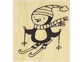 Penguin on Skis and Snowflakes Rubber Stamps, Set of 2