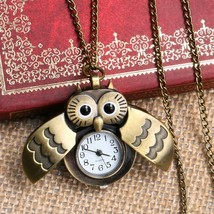 Lovely Owl Watch Nurse Fob Pocket Watches with Necklace Chain Relogio De... - $4.60