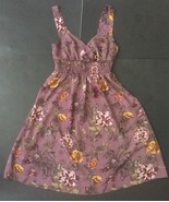 H&M Purple Floral Dress Size 6 Fits XS/S Sheer V-Neck Empire Waist Red Y... - $14.84