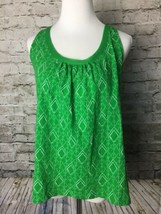 Akemi + Kin Anthropologie Womens Sz XS Green Printed Knit Top Blouse Tie-Back  - $24.70