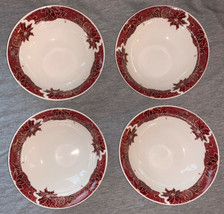 Gibson Stoneware Holiday Time Poinsettia Red Set of (4) Cereal Bowls Chr... - $29.99