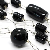 Silver 925 Necklace, Onyx Black Tube and round, Length 80 cm, Chain Rhombuses image 2