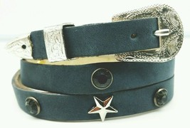 New Hatband Grey Leather W Smoke Crystals,Silver Rectangle+Star Conchos & Buckle - $19.10