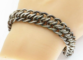 925 Sterling Silver - Vintage Chunky Interlocking Link Chain Bracelet - ... - $116.70