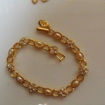 "Signed Joan Rivers Faux Pearl and Crystal Chain Bracelet 7.5"" long - $44.55"