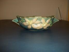 Vintage Roseville Handled Round Bowl Clematis Ciel Blue No.457-8 - $98.95