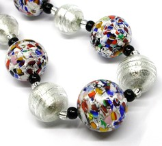 NECKLACE MACULATE MULTI COLOR MURANO GLASS BIG SPHERES, SILVER LEAF, ITALY MADE image 2
