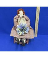 Vintage Handmade Girl Rag Doll Folk Art Primitive with Wood Chair Lot Of 2 - $15.98