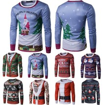 Mens Christmas Tree 3D Print Long Sleeve Casual Slim T-Shirt Top Xmas Sh... - $42.70
