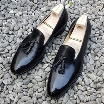 Men's Handmade black color fashion loafers,mens loafers and slip ons,Dress Shoes - $144.99+
