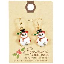 Crystal Avenue  Winter Snowman Holiday Theme Drop Dangle Earrings image 1