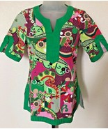 Koi By Kathy Peterson Scrub Top Split V-Neck Green Paisley Style# 136PR ... - $18.80