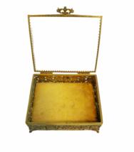 Vintage Regency Ornate Decorative Gold Gilt Tone Box Vanity Jewelry Trinket image 3