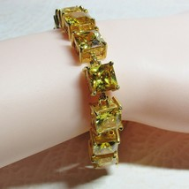 Gold Vermeil Sterling Silver Princess Cut Square Yellow CZ Stone Bracele... - $74.25