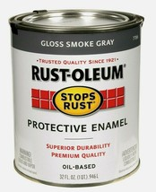 Rust-Oleum GLOSS SMOKE GRAY 1 qt Stops Rust PROTECTIVE ENAMEL Oil-Based ... - $19.99