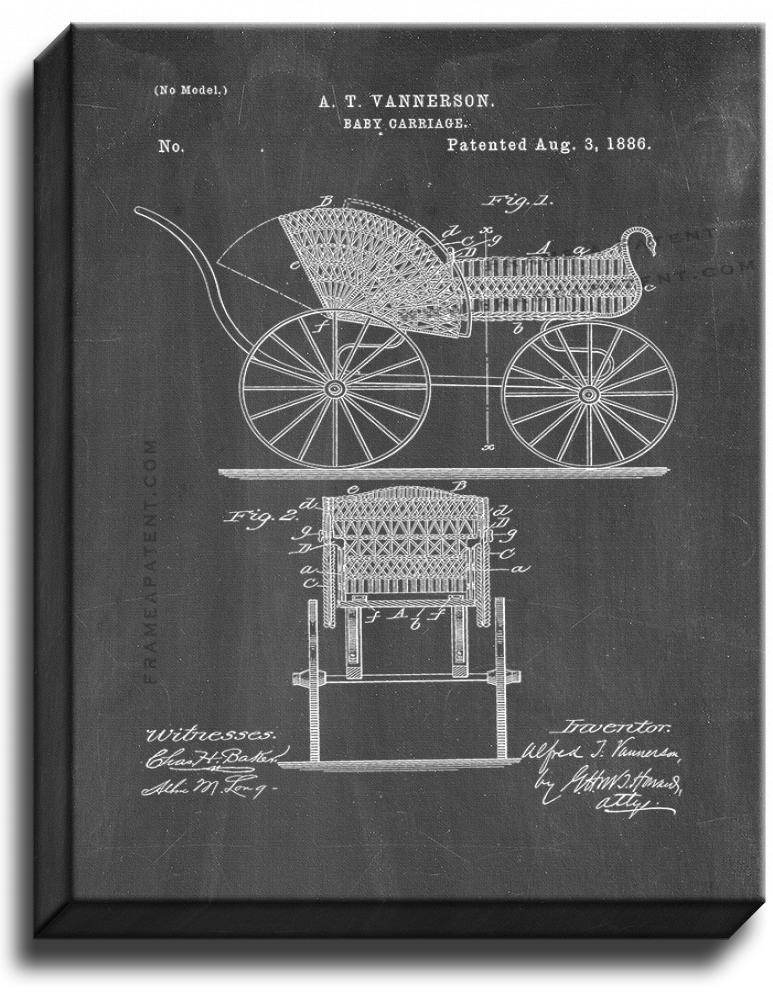 Primary image for Baby Carriage Patent Print Chalkboard on Canvas