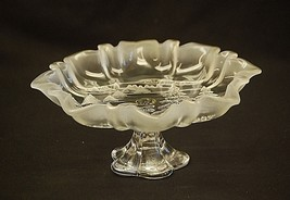 Mikasa Christmas Story Frosted Ruffled Glass Footed Compote Bon Bon Dish... - $49.49