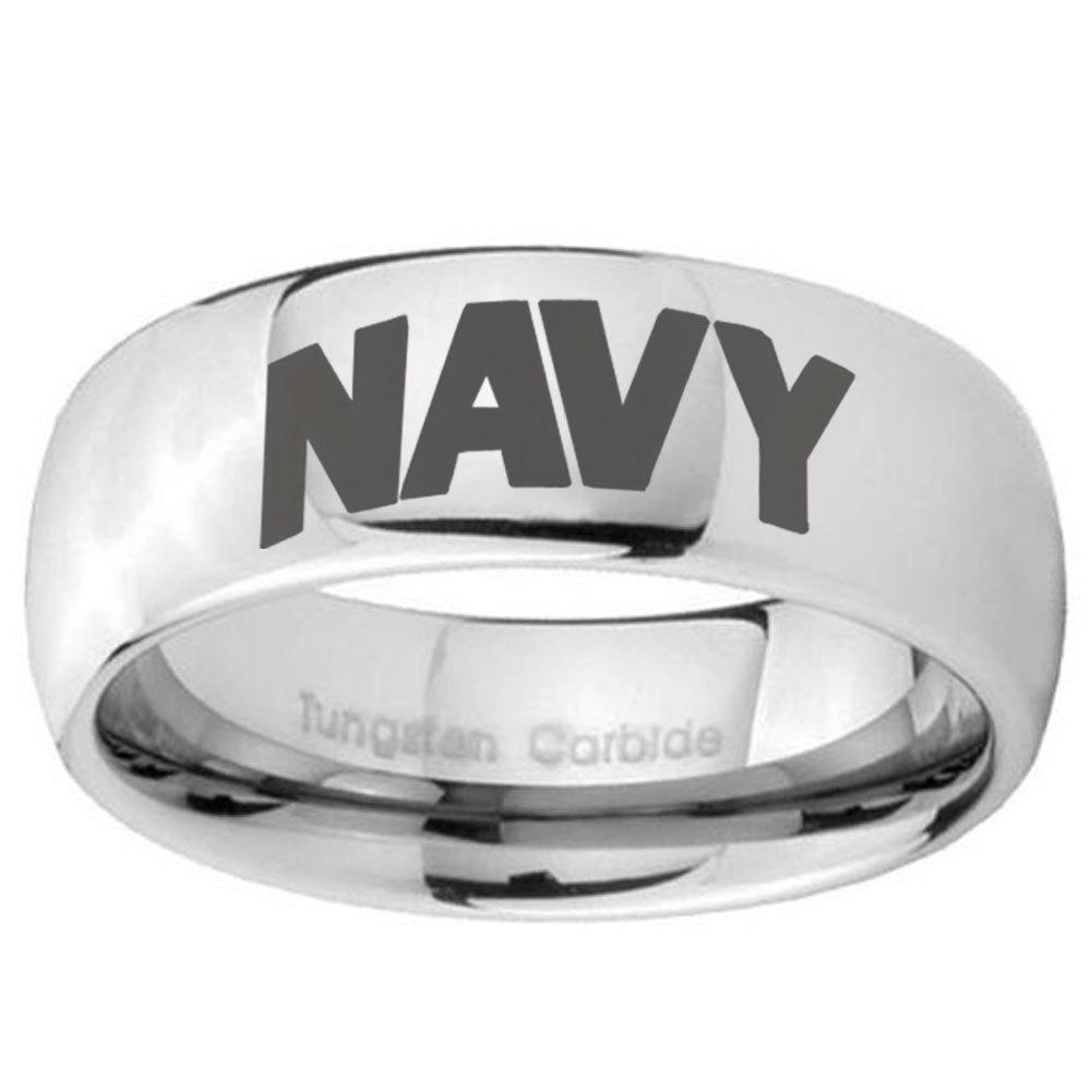 NAVY 8mm Dome Tungsten Carbide Wedding Mens Ring - $43.99