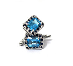 925 Sterling Silver Natural Fine Quality Blue Topaz And Blue Sapphire Gemstone A image 4