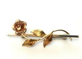 Vintage Signed Krementz Rose Brooch Gold Tone Rose Flower Stem Leaves Pin  - $15.44