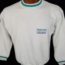 Vintage Delco Chassis White Green Embroidered Made in USA Sweatshirt Hoo... - $26.21