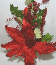 Unbranded 999367 Green Red Poinsettia  Holly Berries Christmas Decoration image 1