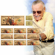 Amazing Spiderman Stan Lee  Gold Foil 10PCS Banknote Set Super Heroes Fans - $10.79