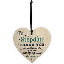 Meijiafei My Stepdad Dad Hanging Wooden Heart for Him Daughter Son Birthday Than