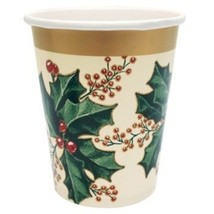 Winter Holly 9 oz 25 Ct Cups Goblets Paper Christmas Party - $9.99