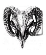 "Alchemy Gothic Ram's Skull Pagan Horns 1.5"" Pewter Belt Buckle Heavy Dut... - $79.95"