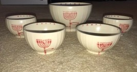 5 Pc STONEWARE BOWLS Jewish Star Menora Ribbed 4 Small/1 Large Serving Bowl - $30.00