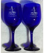 2 Cobalt Blue Wine Glass Souvenirs Yaquina Head Lighthouse Newport OR Or... - $14.99