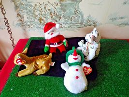 4 TY Beanie Babies Christmas/holiday-Santa/Snowman/Reindeer/bear with tags image 3