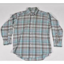 Vintage Mens Levis Colorgraphs Plaid LS Shirt Size L Gray Blue Lt Blue - £18.72 GBP