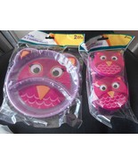 New Angel of Mine 5 pc Set 2 pk divided plate 2 snack containers Owl 1 s... - $12.19
