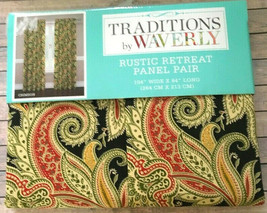 "Traditions Waverly Rustic Retreat Crimson 2 Window Panels 63"" Long Curtains  - $59.28"