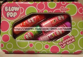 LOTTA LUV* 5pc Tin Set BLOW POP Lip Balms CHERRY+GRAPE+STRAWBERRY+SOUR A... - $8.99