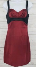 BCBG MAXAZRIA Dress Sz 4 Burgundy Black Sweetheart Sleeveless Silk Stretch  - $21.78