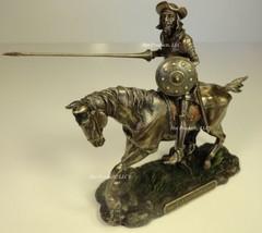 DON QUIXOTE ON HORSE JOUSTING Sculpture Spanish Statue Antique Bronze Fi... - $56.25