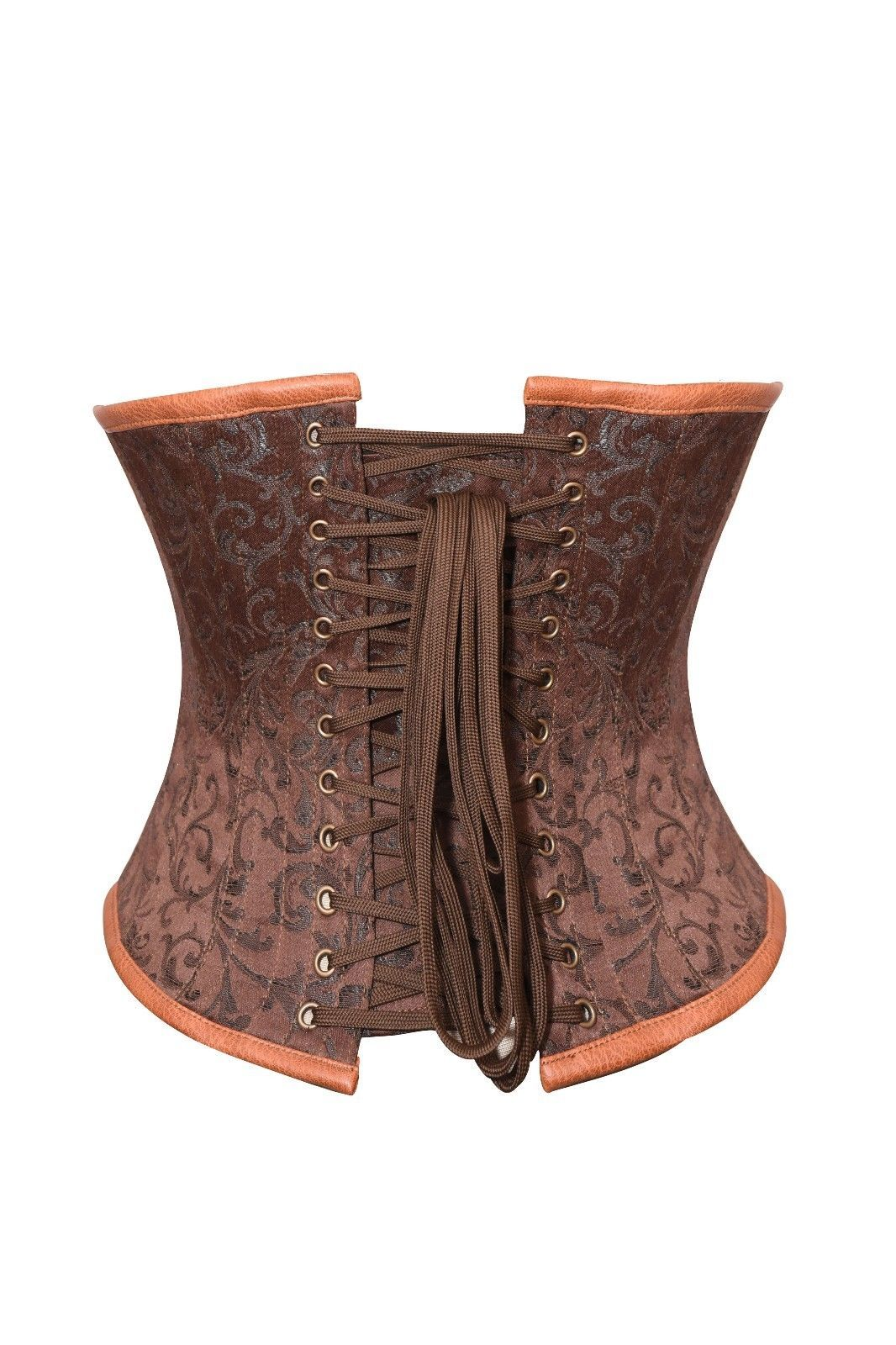 Brown Brocade & Leather Belt Gothic Steampunk Bustier Underbust PLUS SIZE Corset