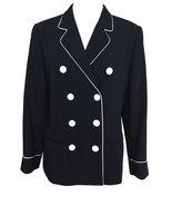 80s MONDI Nautical Sailor Navy Blue White Trim Piping Ladies Wool Blazer... - $85.00
