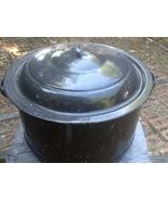 Vintage Enamelware Black Speckled Canning Clam Lobster Stock Pot w/ Lid ... - $50.00