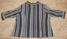 APT.9 BLACK WHITE PIPE STRIPE STRETCH 3/4 SLEEVE BUTTON DOWN SHIRT TOP 3X 4X 30W image 4