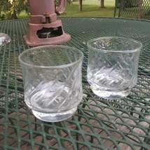 Tang Juice Glasses set of 2 Anchor Hocking 3 inch Swirl Pattern - $16.34