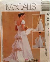 McCalls Bridal Gown Princess Seams Sweetheart Neckline 2 Sleeve Options,Veil 3 D - $10.00