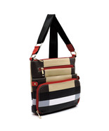 Plaid Check Crossbody Bag Messenger PURSE multi color red trim many comp... - $22.99