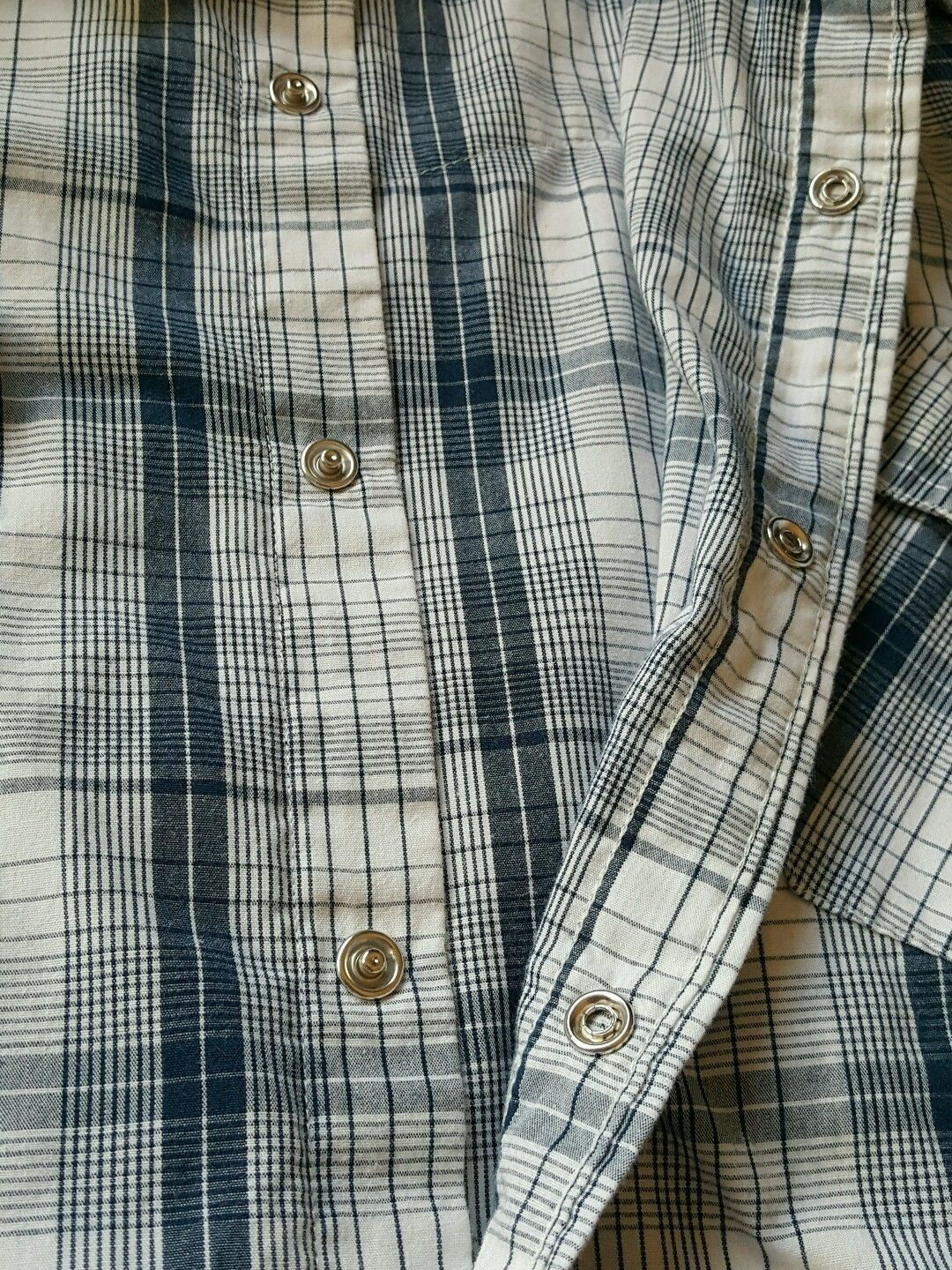 Levis Blue Plaid Western Cowboy Shirt Pearl Snaps Short Sleeve Cotton Med