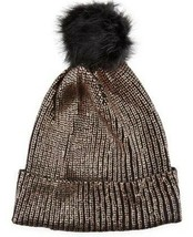 La Fiorentina Metallic Copper Gold Beanie Knit Hat Black Faux Fur Pom Po... - $18.71