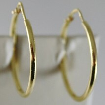 18K YELLOW GOLD EARRINGS CIRCLE HOOP 24 MM 0.94 INCHES DIAMETER MADE IN ITALY image 1