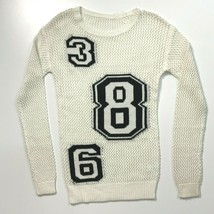 Loose Knit Sweater XS White Sweater Crew Neck Summer Sport Number Design... - $28.86